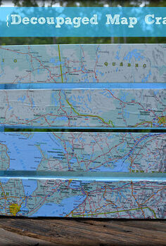 decoupaged map crate mod podge madness, crafts, decoupage, organizing