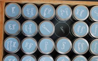 mason jar spice organization kitchenstorage, kitchen design, organizing, Mason jar spice organization with chalkboard