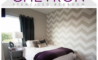 an enchanting chevron stenciled bedroom, bedroom ideas, painting
