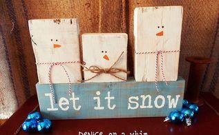 easy snowman craft, crafts, decoupage, painting, seasonal holiday decor, A trio of 2x4 snowmen