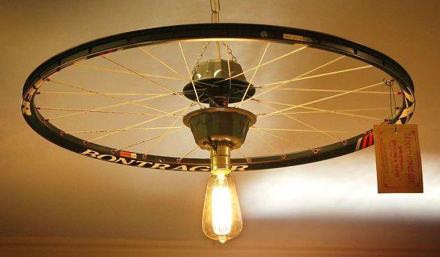 Bike Light Parts : Repurposed upcycled bicycle rim pendant hanging light