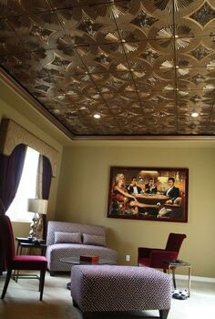 decorative ceiling tiles why didn t i think if this, home decor, kitchen backsplash, tiling, I am loving the gold Faux Tin Ceiling Tile It is reminiscent of The Great Gatsby and the Art Deco feel that I adore Read more at