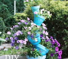 stacked ombre flower ports, flowers, gardening, stacked ombre painted terra cotta pots