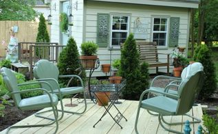 how to paint vintage metal chairs, outdoor furniture, outdoor living, painted furniture, Now we can enjoy these chairs on our new deck