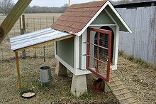 repurposed doghouse into a chicken coop, homesteading, repurposing upcycling, A foundation created from old cement piers