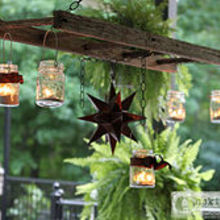 how to create a mason jar patio chandelier, mason jars, outdoor living, patio, repurposing upcycling, Hanging ladder with mason jars