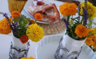 fall tablescape using marigolds, seasonal holiday decor