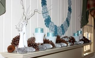 january mantel ice blue white and silver with glitter, seasonal holiday d cor, wreaths, Milk glass vases hold glittered candles and silver twigs
