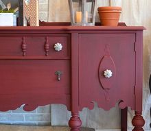 scarlet buffet, painted furniture