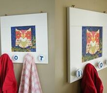 create a kids coat hanger out of an old cabinet door, repurposing upcycling