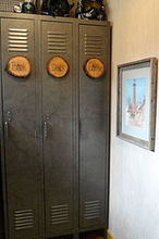 galvanized lockers, painted furniture, rustic furniture, after the makeover