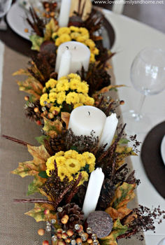 teal amp yellow fall tablescape, seasonal holiday decor, Teal Yellow Fall Tablescape