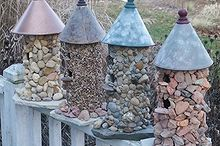make a stone birdhouse, crafts, Turn an unfinished birdhouse into something wonderful Here we used different colours of stones and funnels on top
