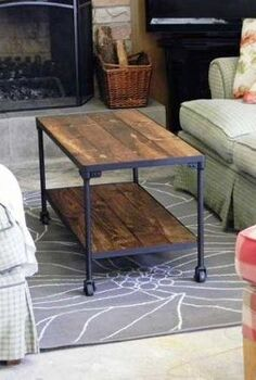 diy industrial inspired coffee table, painted furniture, full view