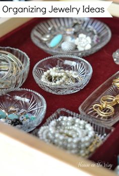 easy decorative ways to organize your jewelry, organizing, Get Organized with small dishes to corral your small earrings rings pins and bracelets