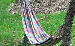 make your own tie dyed hammock, outdoor furniture, outdoor living, painted furniture
