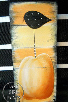 how to paint a crow and pumpkin sign, crafts, seasonal holiday decor