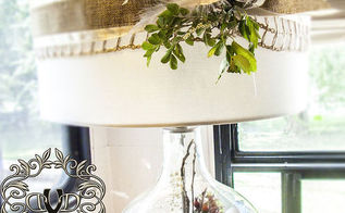creating a woodland christmas under glass, christmas decorations, home decor, lighting, seasonal holiday decor, By simply changing out the decorations and removing the shade ribbon you could have a different look for any season occasion