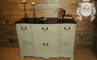 buffet makeover, painted furniture, rustic furniture, The painted buffet with some stenciling on the doors