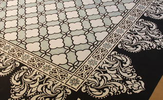 chalk paint stenciled floor cloth, flooring, painting, Classical Border Corner Stencil Florentine Damask Stencil and our Eastern Lattice Moroccan Stencil were used on this beautiful carpet
