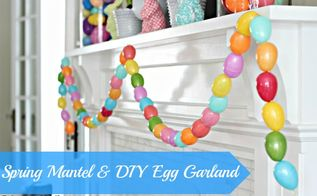 mycurrentproject is all things spring here s a sneak peek at my spring mantel and, seasonal holiday d cor, DIY Egg Garland full details coming 2 24