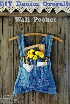 repurposed overalls wall pocket, repurposing upcycling