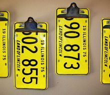 repurposed upcycled license plate clipboards, repurposing upcycling, It s better to use stiffer license plates that aren t as easy to bend so the tension from the clips won t bend the metal on their own
