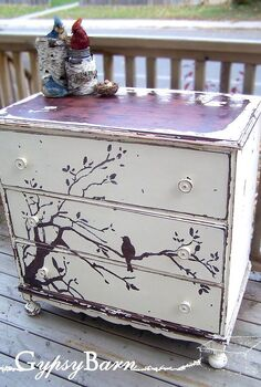 chipping old paint for beautiful designs, painted furniture, The After Picture of the Chirpy Chippy Dresser She is the only piece so far we haven t allowed to go up for sale that s how much we love her We allowed the natural Mahogany to show through as the wood of the tree