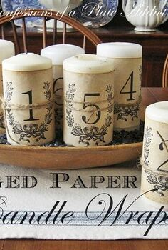 frenchy aged paper candle wraps, crafts, home decor, An easy and inexpensive project for your old pillar candles
