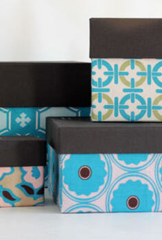 one yard decor fabric covered boxes, crafts, Small boxes covered with coordinating fabric