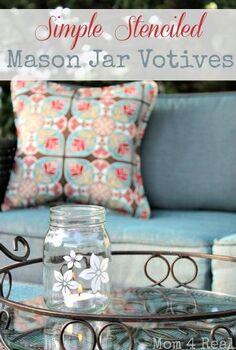stenciled mason jar votives, crafts, mason jars, outdoor living, Stenciled Mason Jar Votive Holders