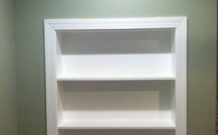 built in bookcase, painted furniture, woodworking projects, Built in book case made from 3 4 mdf
