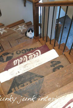 turn your stairs into a work of art, painting, stairs, Desiring the look of old crates I created stencils with my signmaking equipment The paint went directly on the original wood
