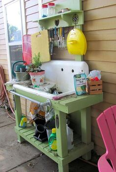potting bench, doors, outdoor living, repurposing upcycling, The bench is in heavy use already