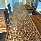 penny countertop, countertops, home decor, DIY Penny Countertop by Domestic Imperfection