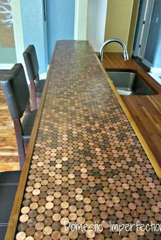 penny countertop, countertops, home decor, DIY Penny Countertop by Domestic Imperfection