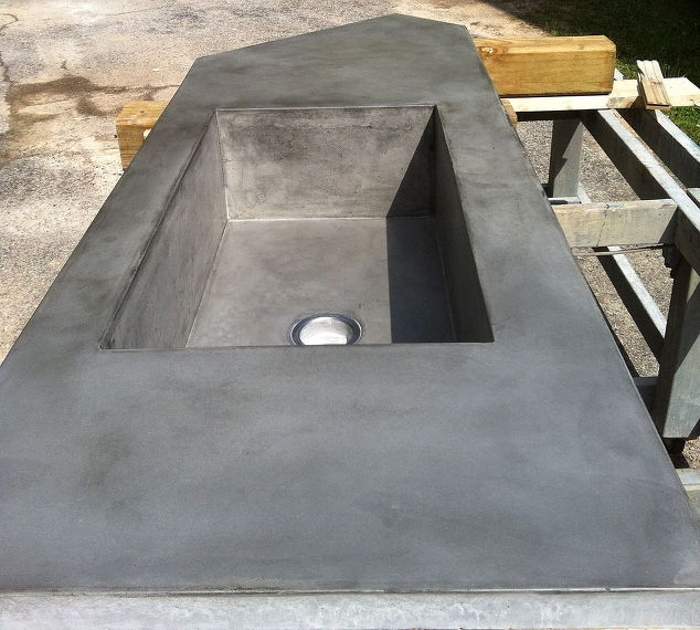 concrete countertop with large integral farmhouse sink. Black Bedroom Furniture Sets. Home Design Ideas