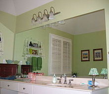 revamp that large bathroom mirror, bathroom ideas, home decor, Before project began
