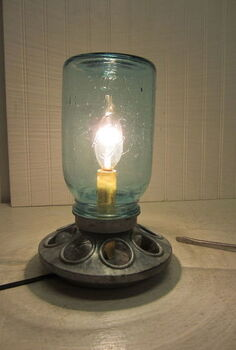 galvanized chicken feeder and mason jar repurposed into lamp, diy, lighting, mason jars, repurposing upcycling