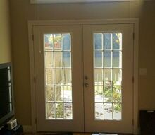 replace french doors with sliding glass doors, Inside view of current living room french doors Want to replace with sliding glass doors