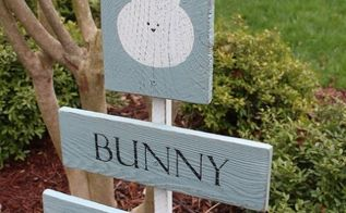 bunny crossing sign from old fence pickets, crafts, easter decorations, gardening, seasonal holiday decor