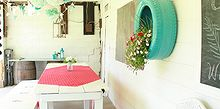 a little bit of a summer home tour, home decor, Covered patio