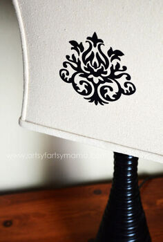 artsy fartsy mama lampshade makeover with cricut iron on
