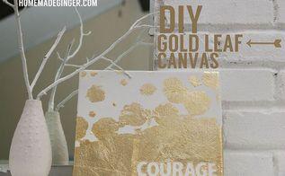 diy gold leaf canvas, crafts, home decor