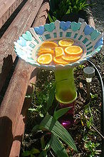 crafts for the backyard glass flower plates butterfly bath and more, crafts, flowers, gardening, The butterfly bath Oranges are suppose to attrack them will see