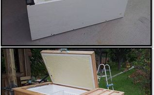 refrigerator to ice chest, diy, outdoor living, repurposing upcycling, woodworking projects, Old refrigerator to patio ice chest