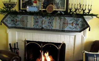 happy chanukah, fireplaces mantels, seasonal holiday d cor, our Chanukah fireplace mantel