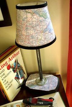 vintage modern map lamp, crafts, lighting, Vintage Modern Map Lamp
