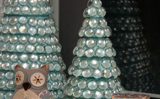 glass christmas trees, crafts, seasonal holiday decor
