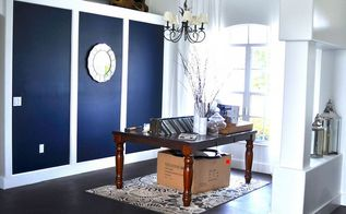 going bold navy blue dining room accent wall, home decor, painting, wall decor, Making progress